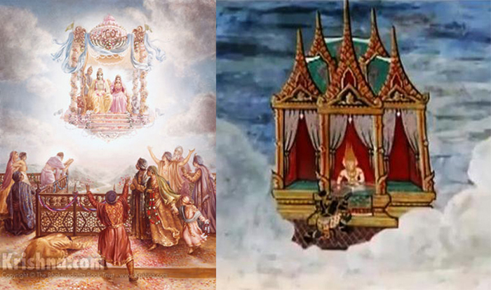 """"""".Lord Ramachandra, the Supreme Personality of Godhead [Bhagavan], placed Sitadevi on an airplane decorated with flowers and then got on the plane Himself. The period for His living in the forest having ended, the Lord returned to Ayodhya, accompanied by Hanuman, Sugriva and His brother Lakshman.""""- Srimad Bhagavatam 9.10.32"""